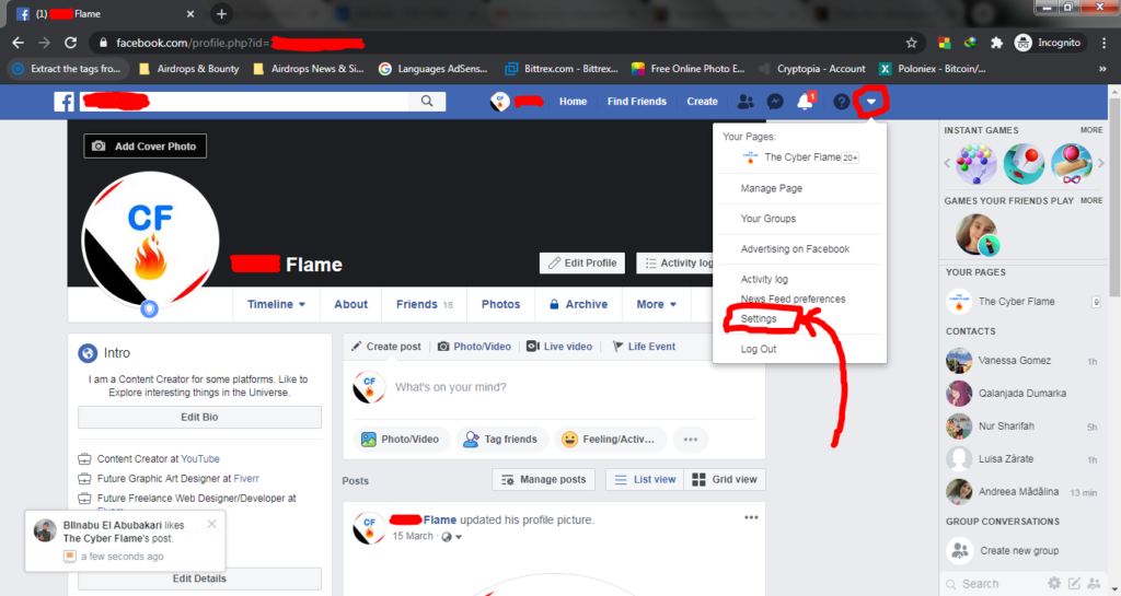 How to find facebook settings