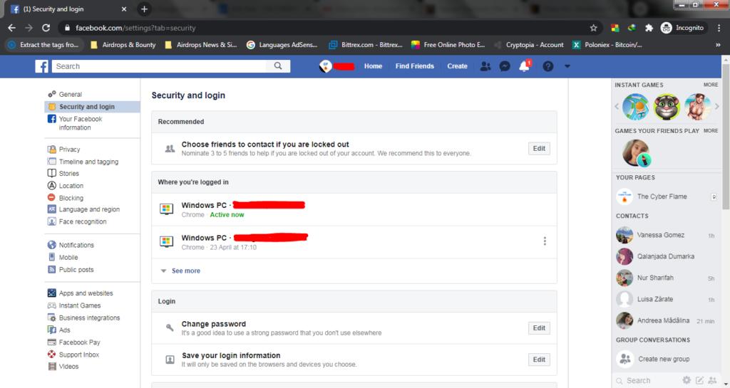 Facebook Security & Login Settings
