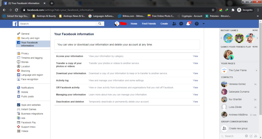 My Facebook Information