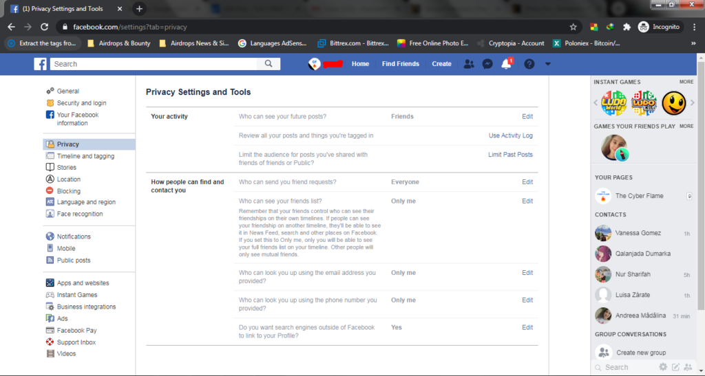 Facebook privacy settings & tools