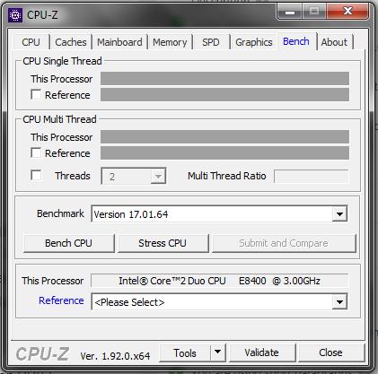 CPU-Z CPUID Benchmark Test Tab