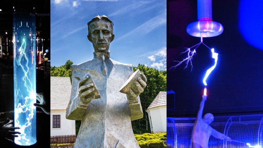 Plasma Plume Electricity - Plasma Lamp. Statue of Nikola Tesla in his Home Village. Lightning Tesla Coil Experiment High Voltage